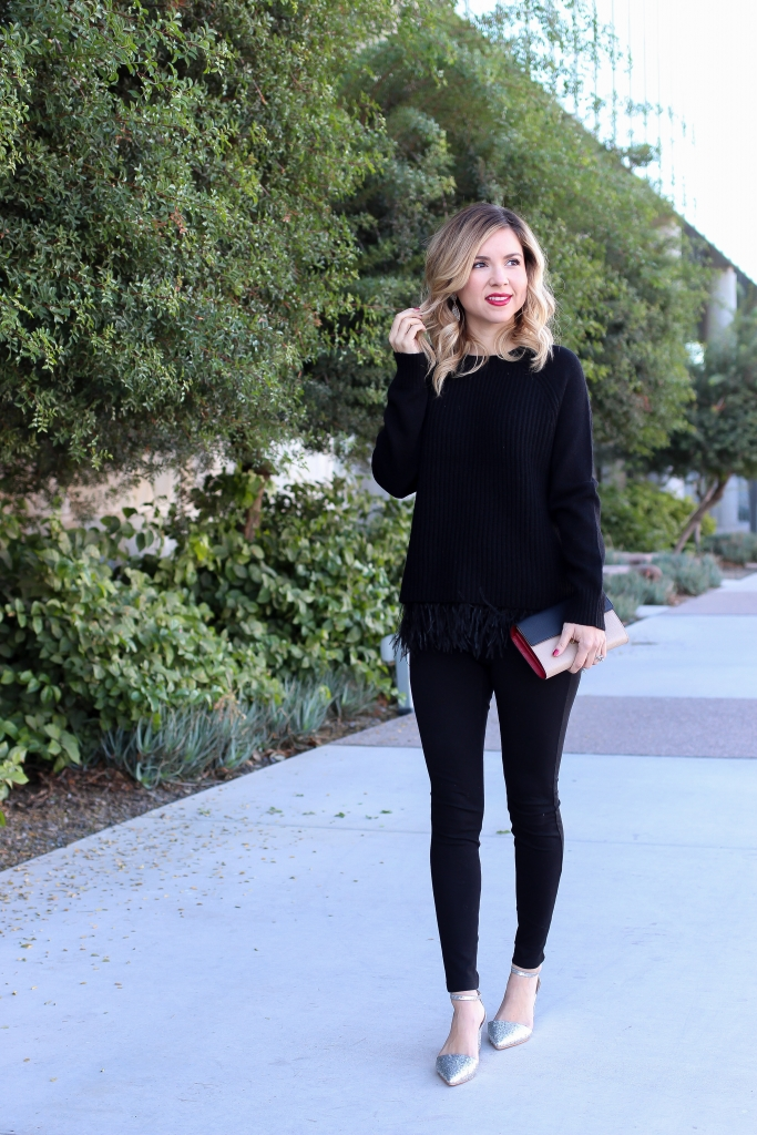 simply sutter - winter style - date night outfit - day to night sweater - glitter heels