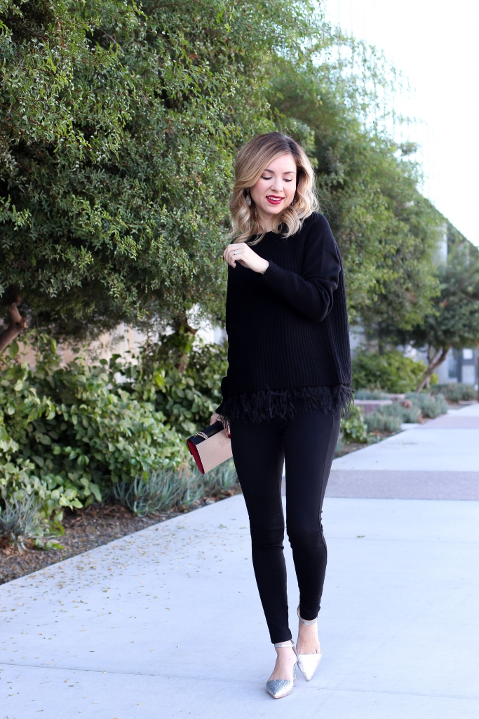 Simply Sutter - Feather Sweater - Day to night outfit