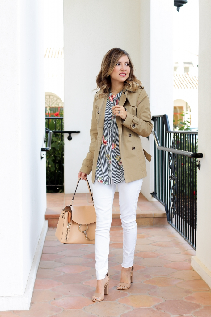 Simply Sutter - Trench Coat - Stripe floral top - spring look