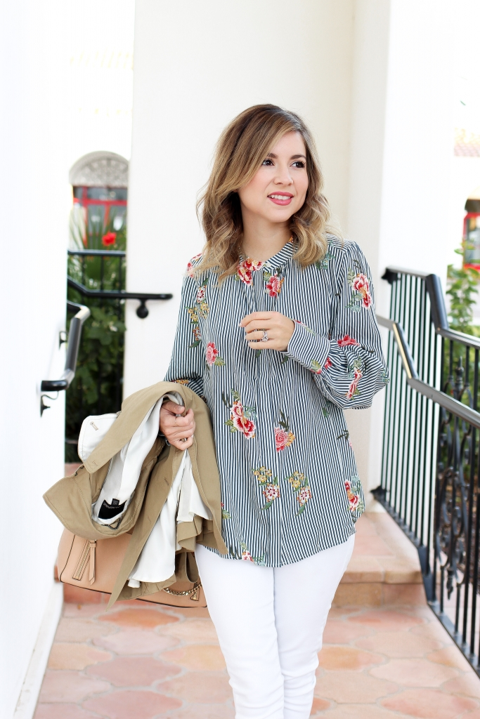 Simply Sutter - Floral Strip Shirt - trench coat outfit