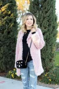Simply Sutter - Pink coat - ruffle sweater - valentines look