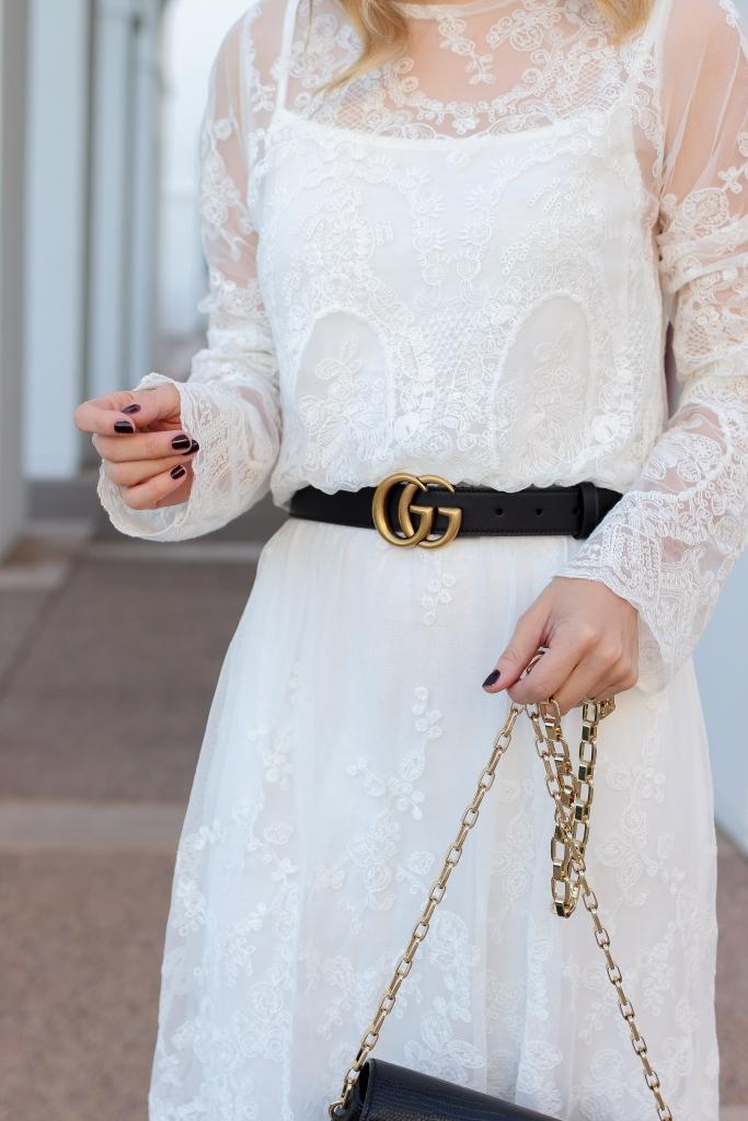 Simply Sutter - Gucci Belt - white dress - winter dress