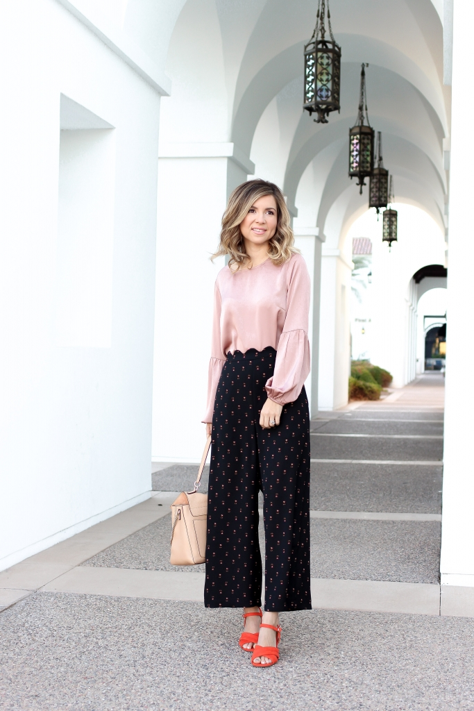 Simply Sutter - Scalloped pants - orange heels - spring style