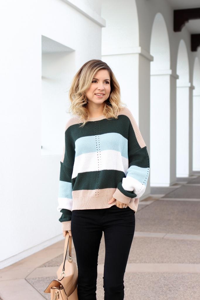 Simply Sutter - Stripe Sweater - Black jeans - oversized sweater