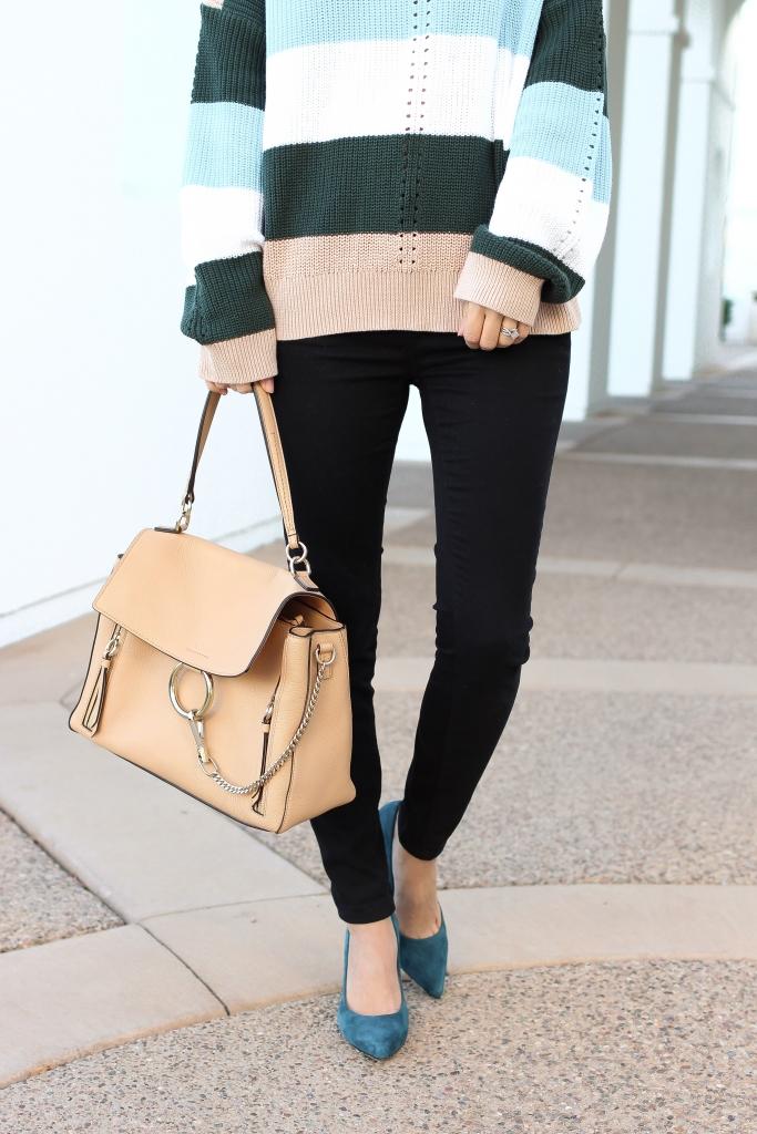 Simply Sutter - nude bag - oversized stripe sweater - chloe faye day