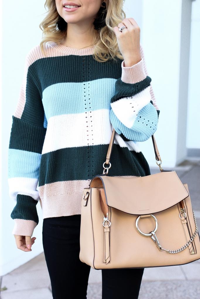 Simply Sutter - nude bag - stripe sweater