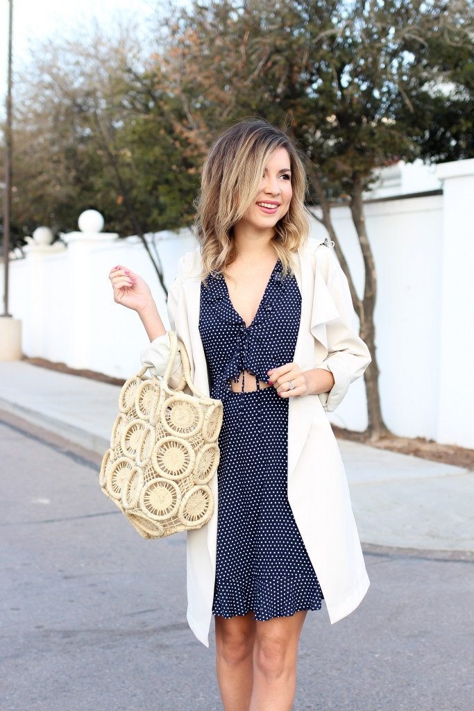 Simply Sutter - Polka Dot Dress - Trench coat - spring outfit - straw bag