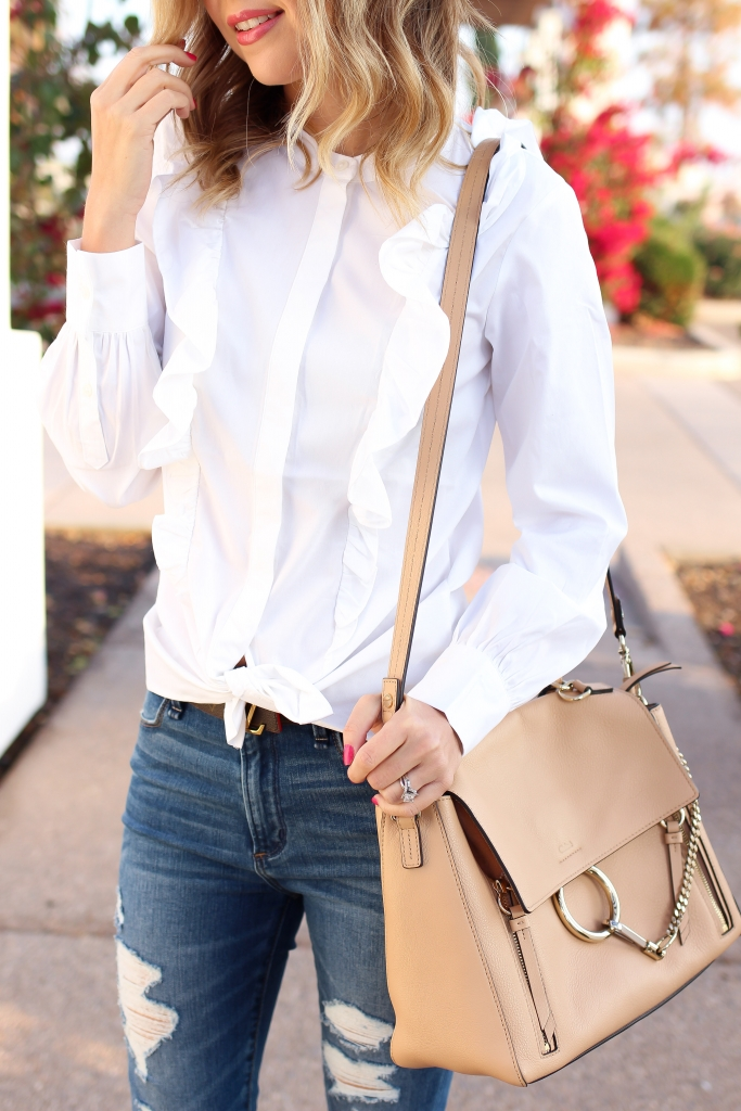 Simply Sutter - Ruffle top - high waist jeans - chloe bag