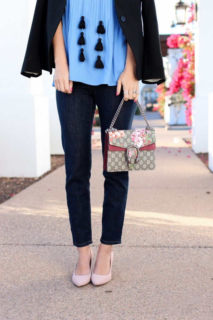 Simply Sutter - Spring style - tassel top - how to style - pink pumps - gucci blooms
