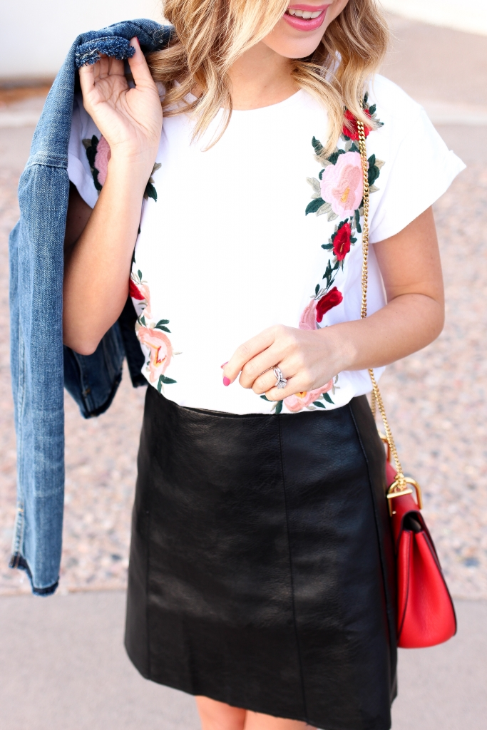 Simply Sutter - Spring style - edge up florals - florals - leather skirt