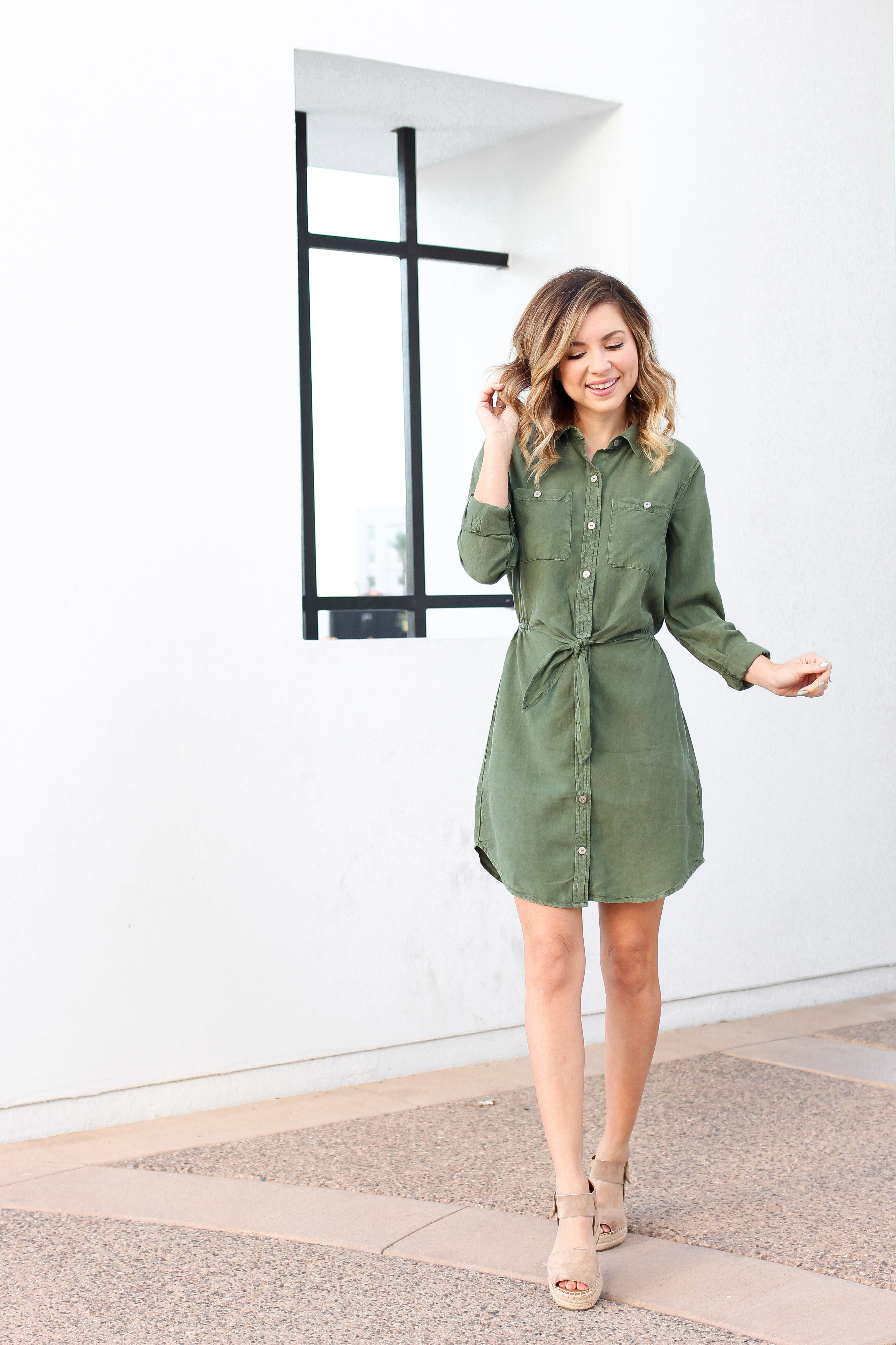 Simply Sutter - Tie Front Dress - Olive Dress - Spring Dress