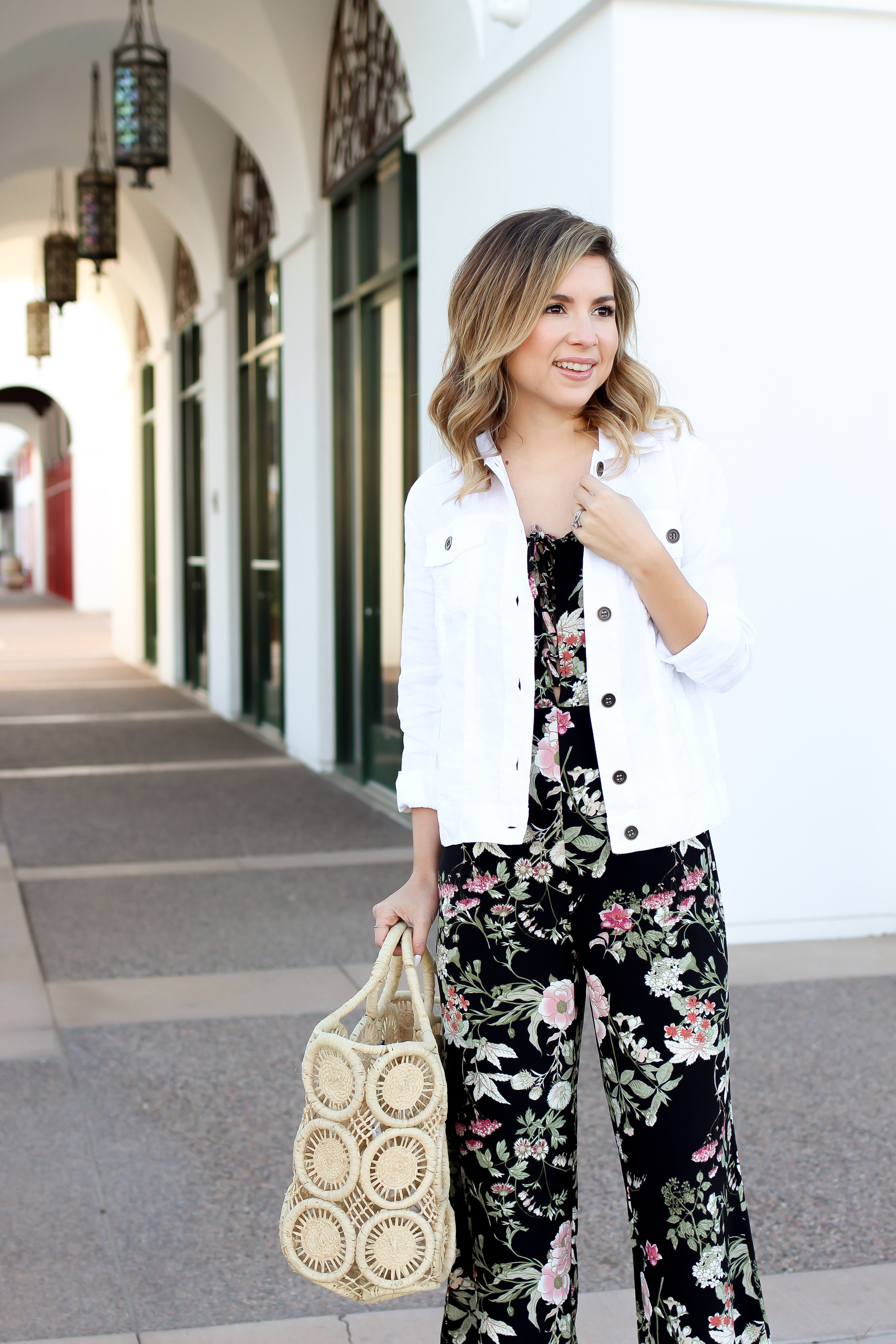 Simply Sutter Floral Jumpsuit White Denim Jacket Spring Outfit