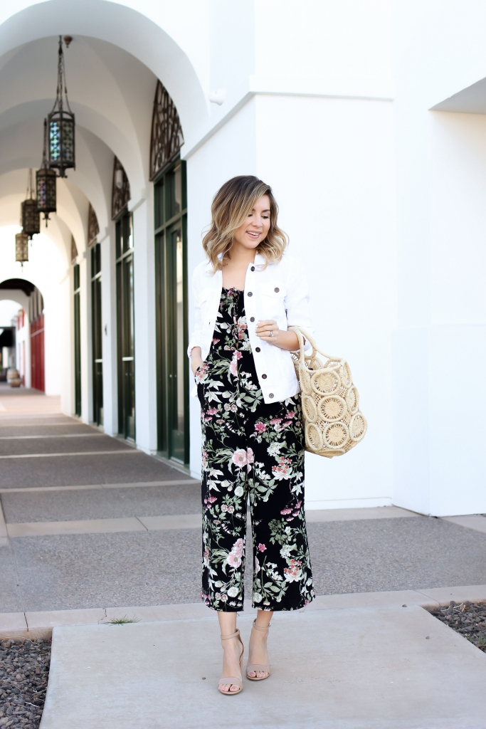 Simply Sutter - white denim jacket - floral jumpsuit - spring outfit