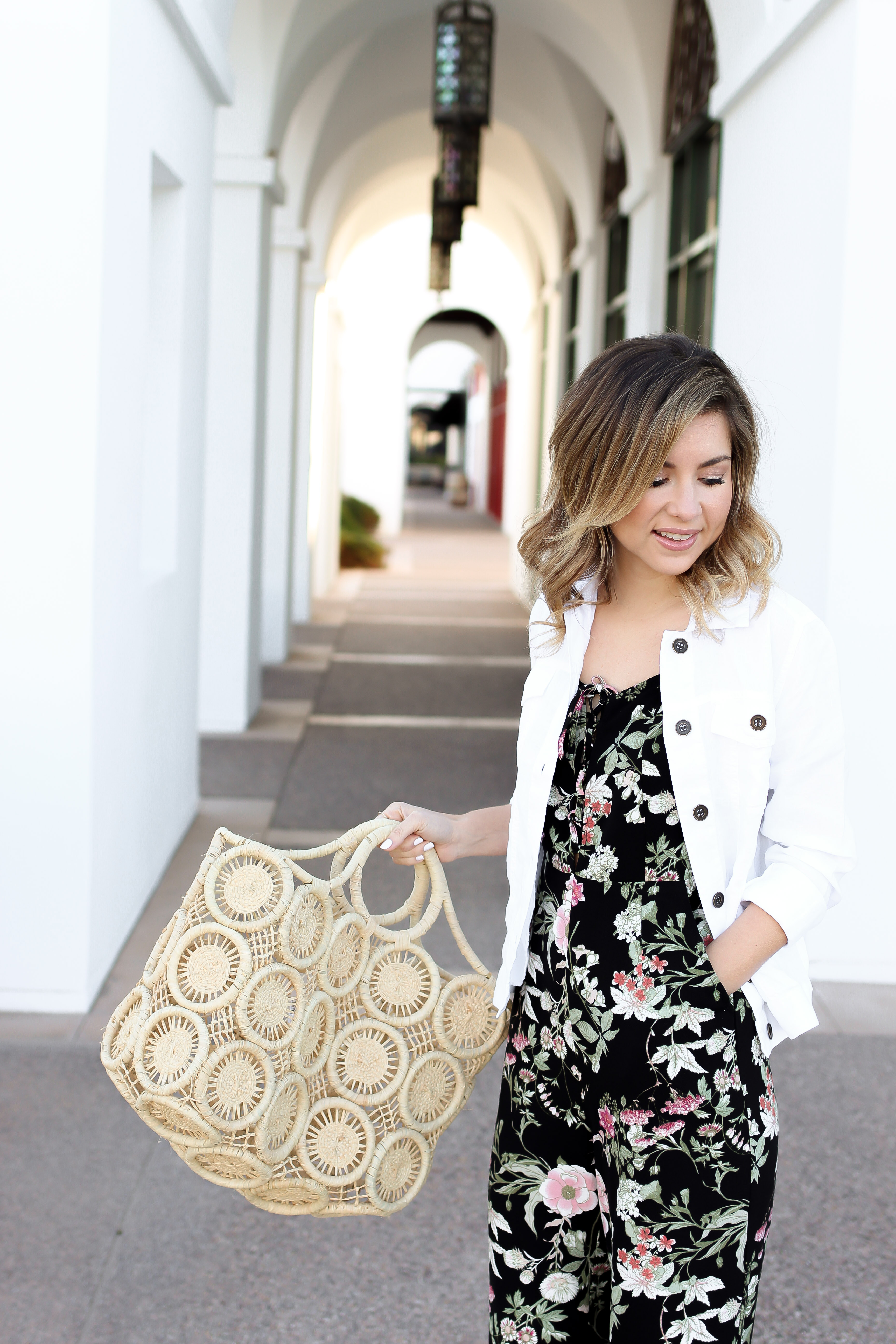 7a15d203d Simply Sutter - Fashion Blogger - Spring outfit - white denim jacket outfit  - floral jumpsuit