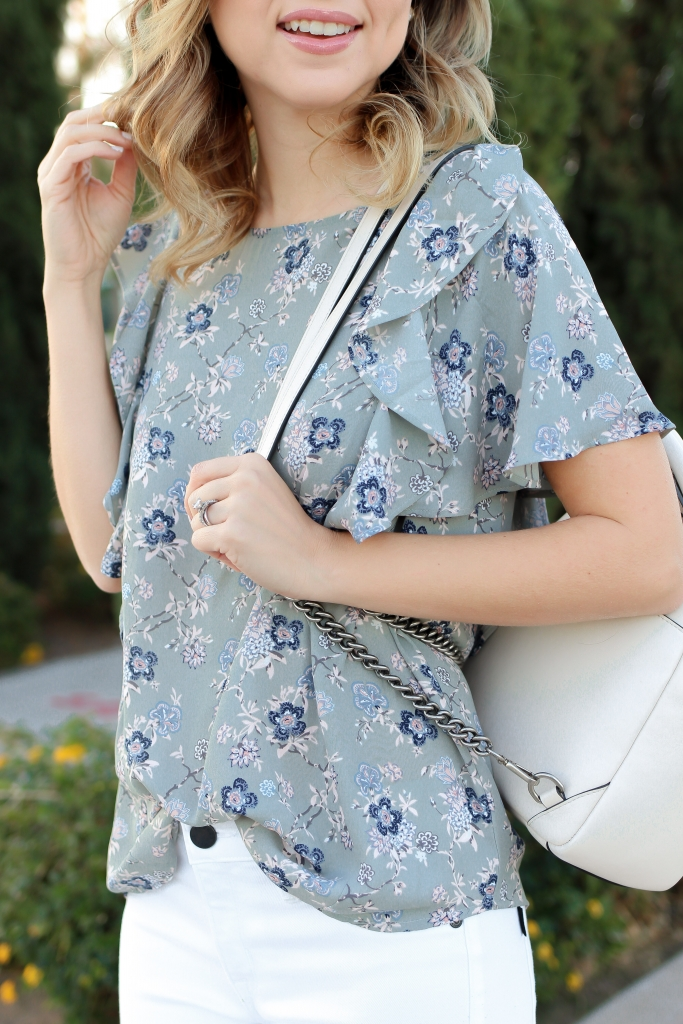 Simply Sutter - white jean outfit - floral top - backpack outfit