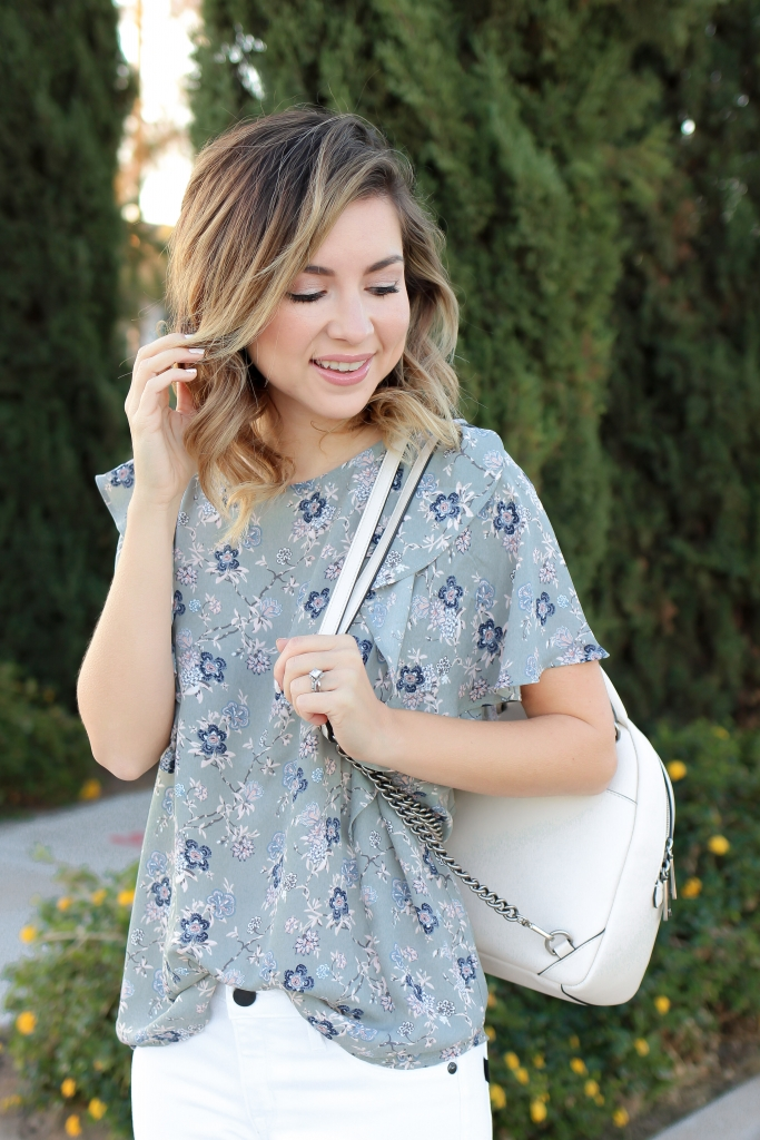 Simply Sutter - White denim outfit - floral top - casual - easter outfit
