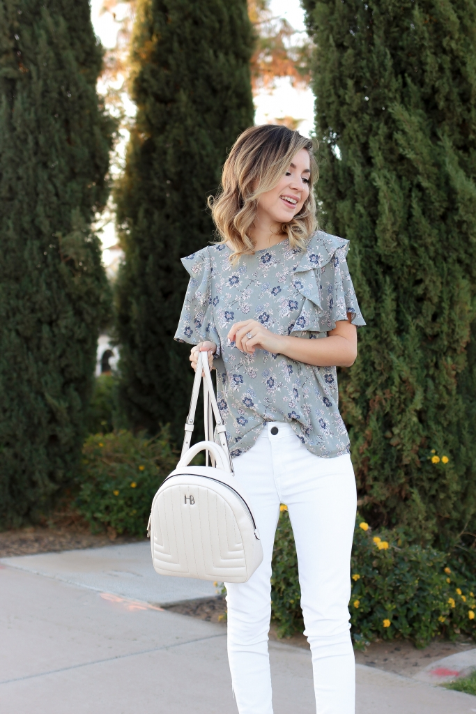 Simply Sutter - Floral top - white denim outfit - spring outfit