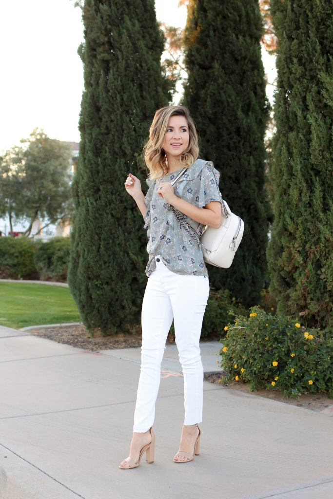 Simply Sutter - White denim outfit - floral top - casual - easter outfit - white backpack