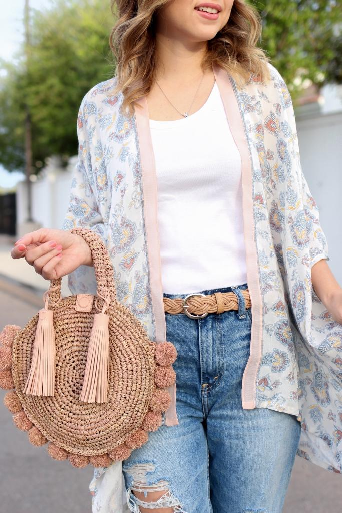 Simply Sutter - Kimono Style - Loft - Kimono - Straight Jeans - Spring Outfit - pink straw bag