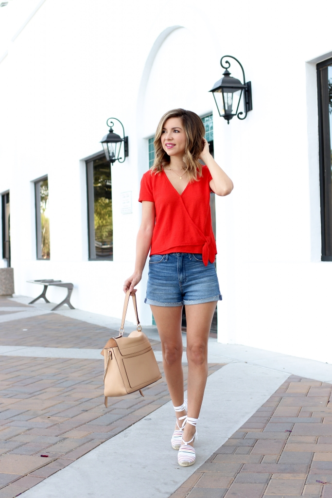 Simply Sutter - Casual Outfit - wrap tee - madewell - chloe faye day - espadrilles