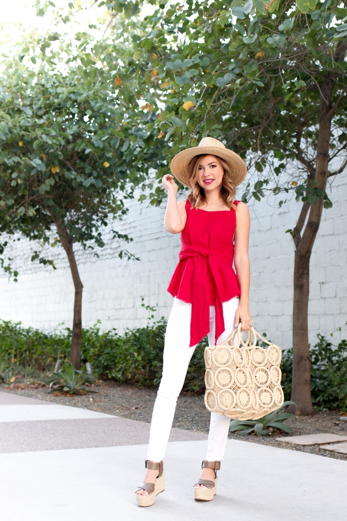 Simply Sutter - Red Tie - Red Linen - Straw Bag - Casual Outfit