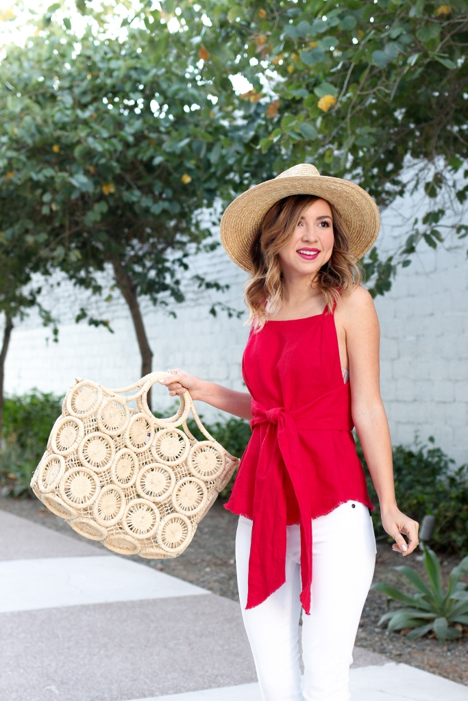 Simply Sutter - Red Tie Top - Straw Bag