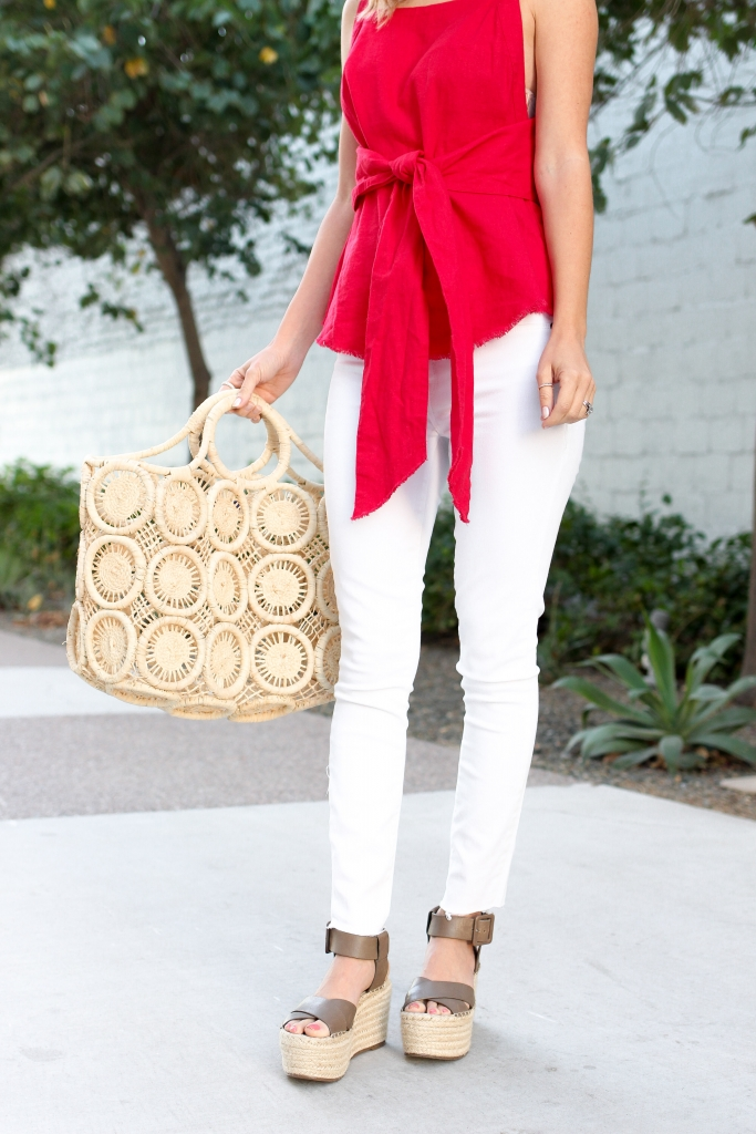 Simply Sutter - Red Tie Tank - Spring Style - Casual outfit - white jean outfit
