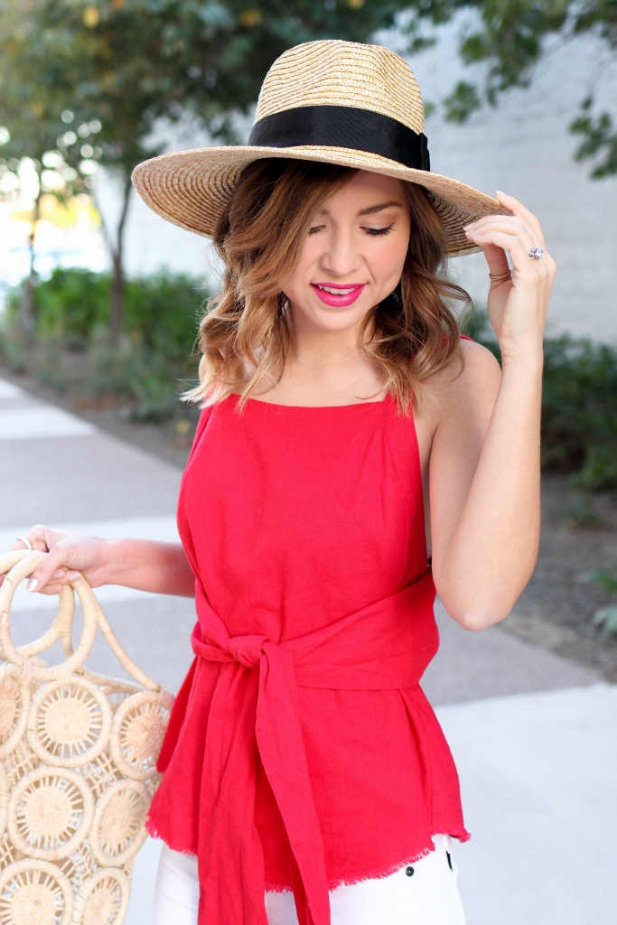 Simply Sutter - Red Tie Tank - Spring Style - Casual outfit - Straw hat