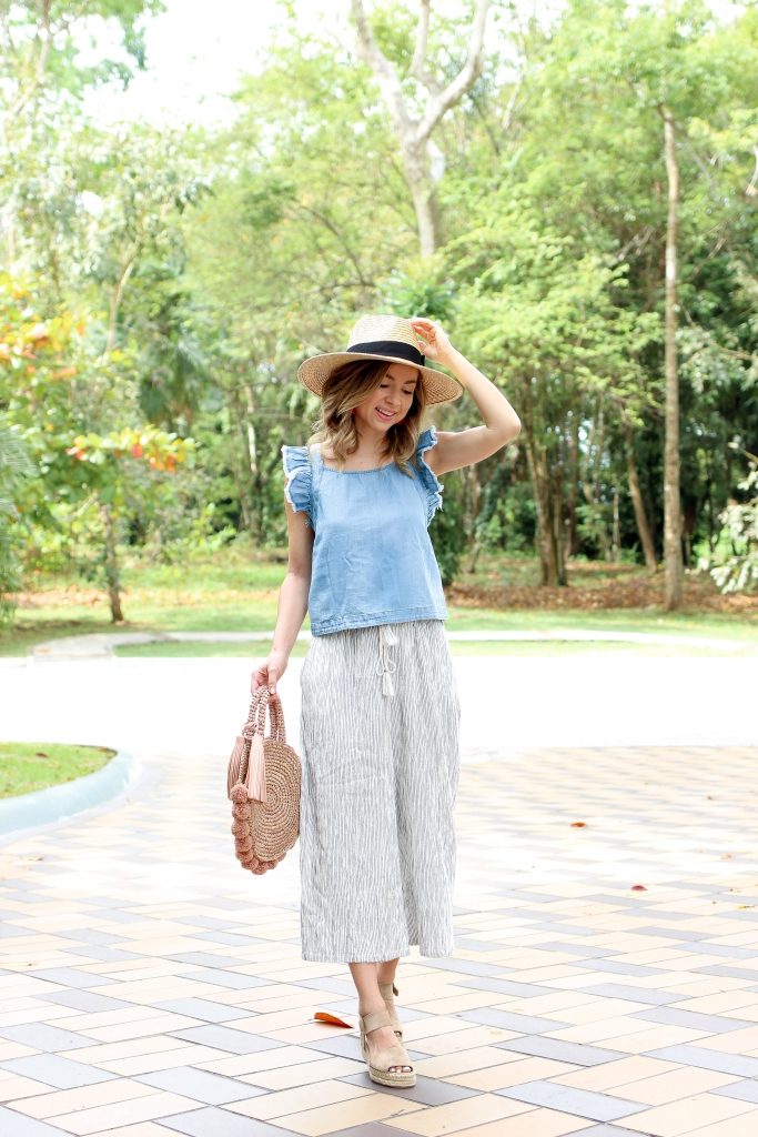 Simply Sutter - Crop Pants - Chambray Top - Straw Hat - Straw Hat - Espadrille Outfit