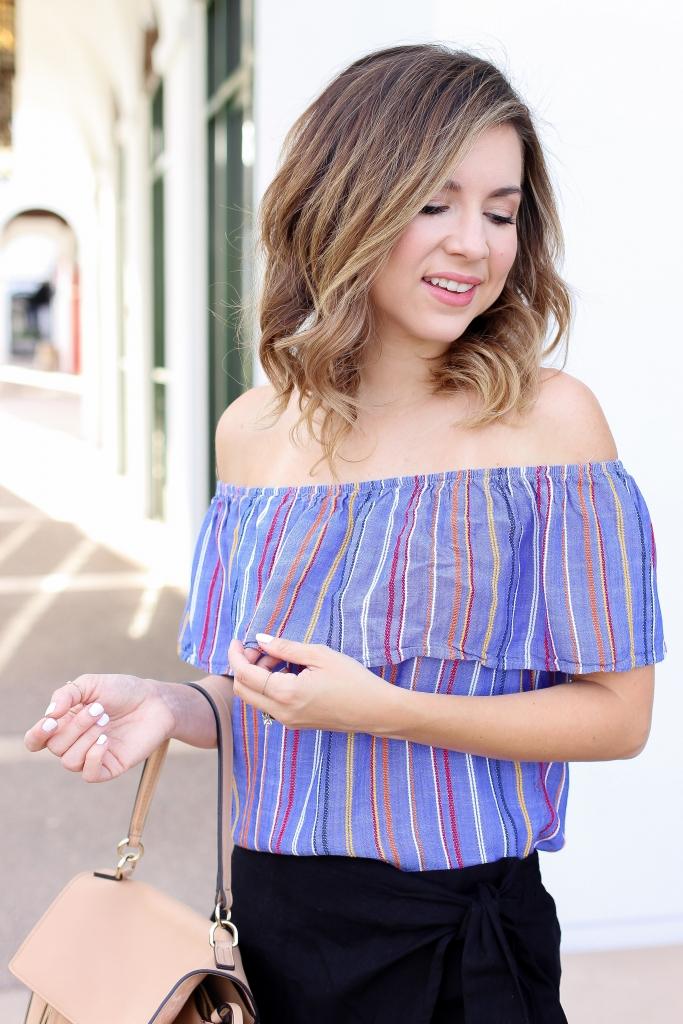Simply Sutter - OTS - Skort - summer outfits - off the shoulder top
