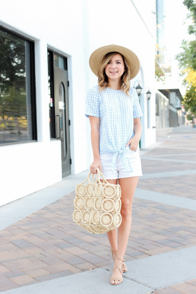 36ba3c584f8f Simply Sutter - Summer outfits - Gingham top - straw hat. Now that I ve  written this post i m going to see if Chris will do some grilling for  dinner!