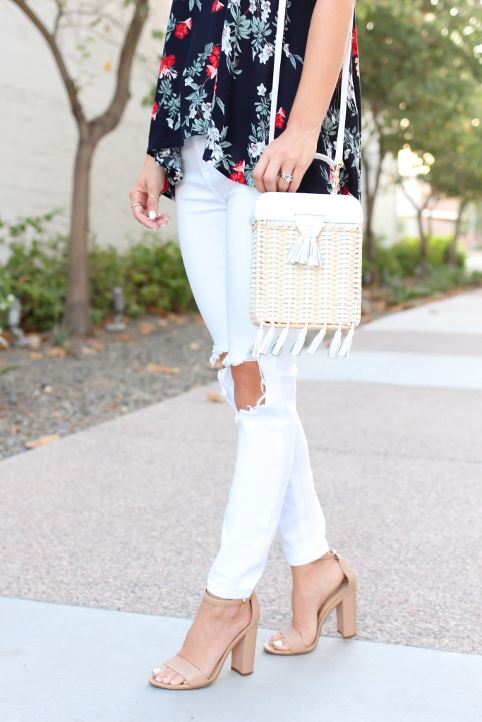 Simply Sutter - High Low Tank - Floral tank - white jeans - nude heels