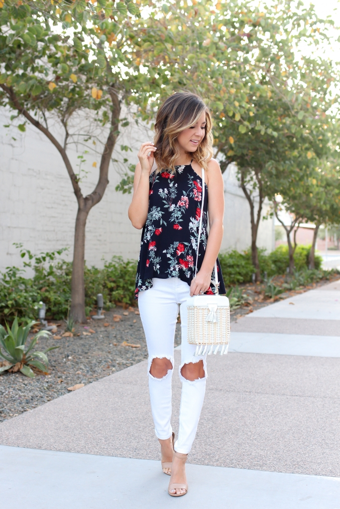 Simply Sutter - High Low Tank - Floral tank - white jeans
