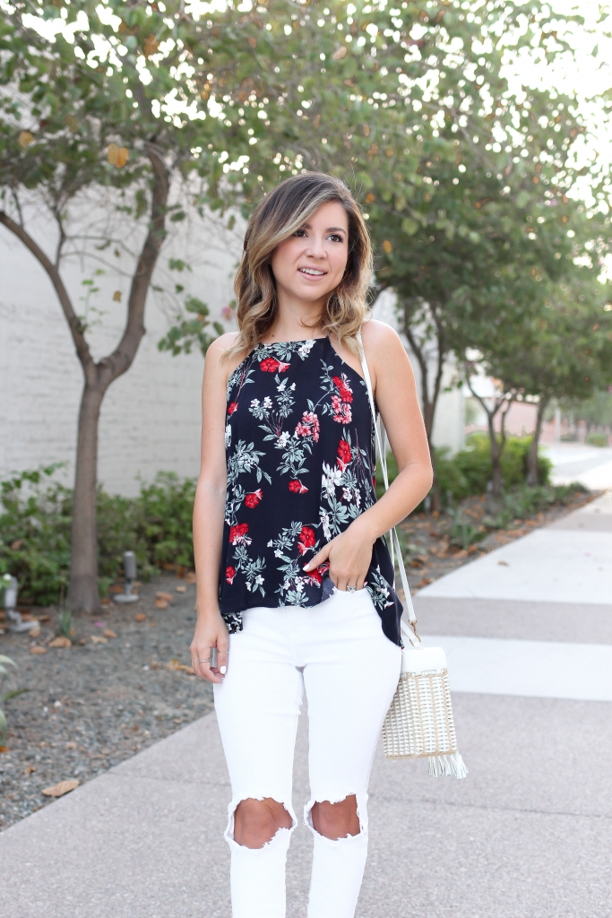 Simply Sutter - Floral Tank - High low tank - white jeans