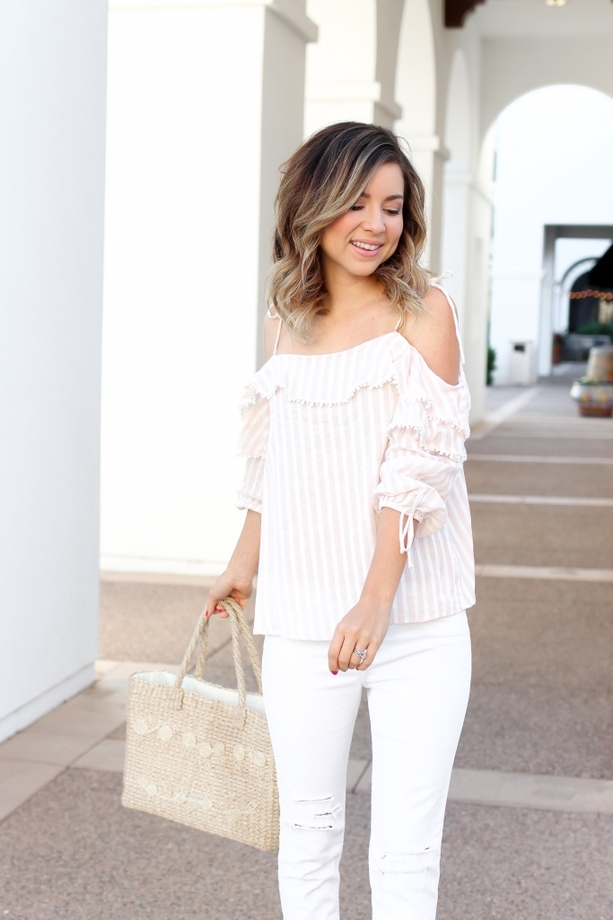 Simply Sutter - white jean outfit - ruffle blouse - pink stripes