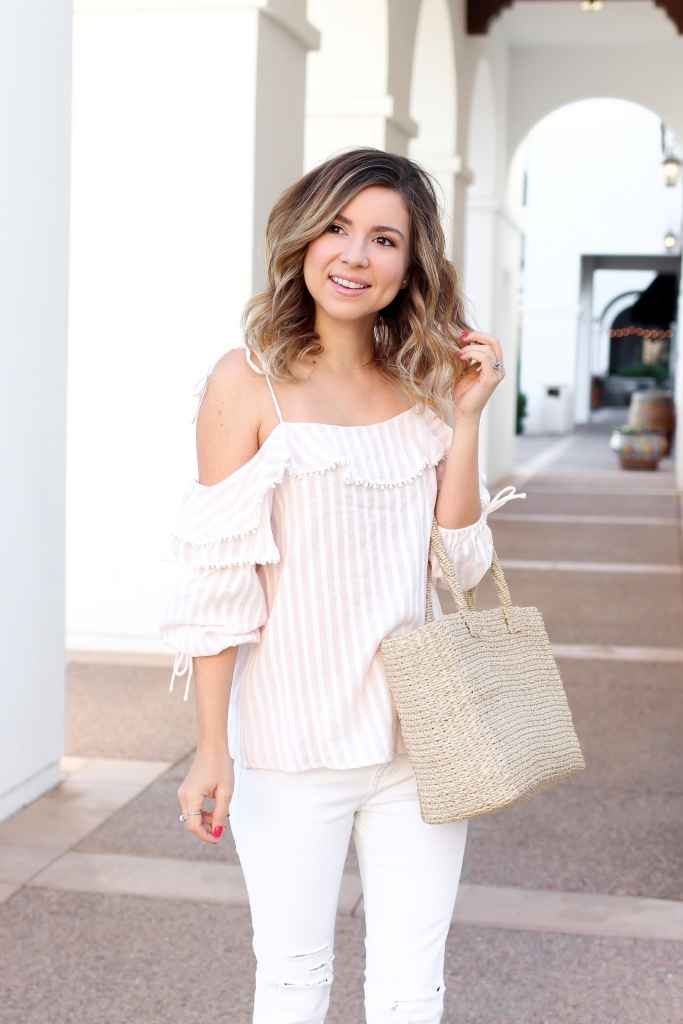 Simply Sutter - Pink Stripe - pink stripe tops - white jeans