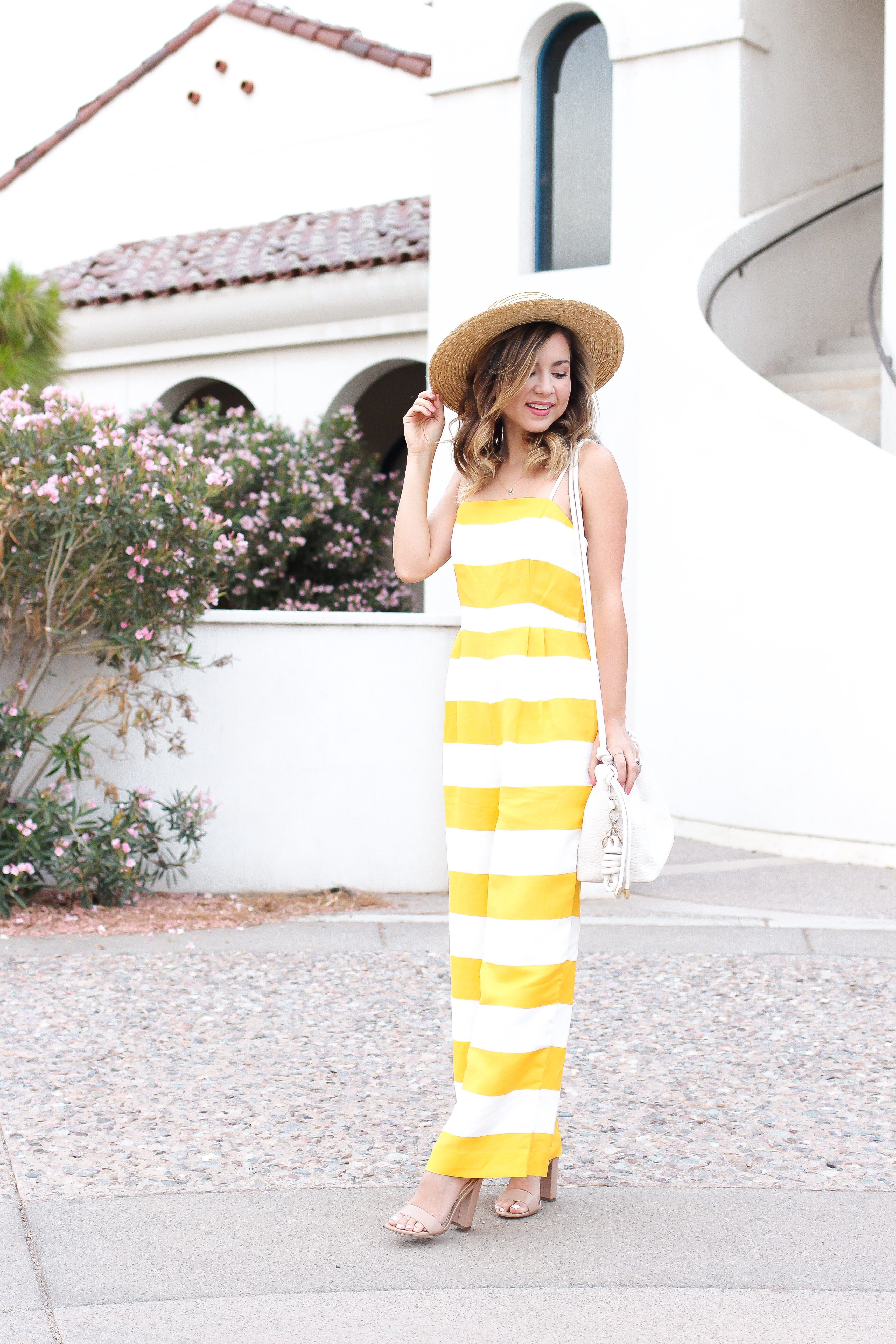 42252358af87 Simply Sutter – yellow jumpsuit -stripe jumpsuit – stripes – straw hat  4811