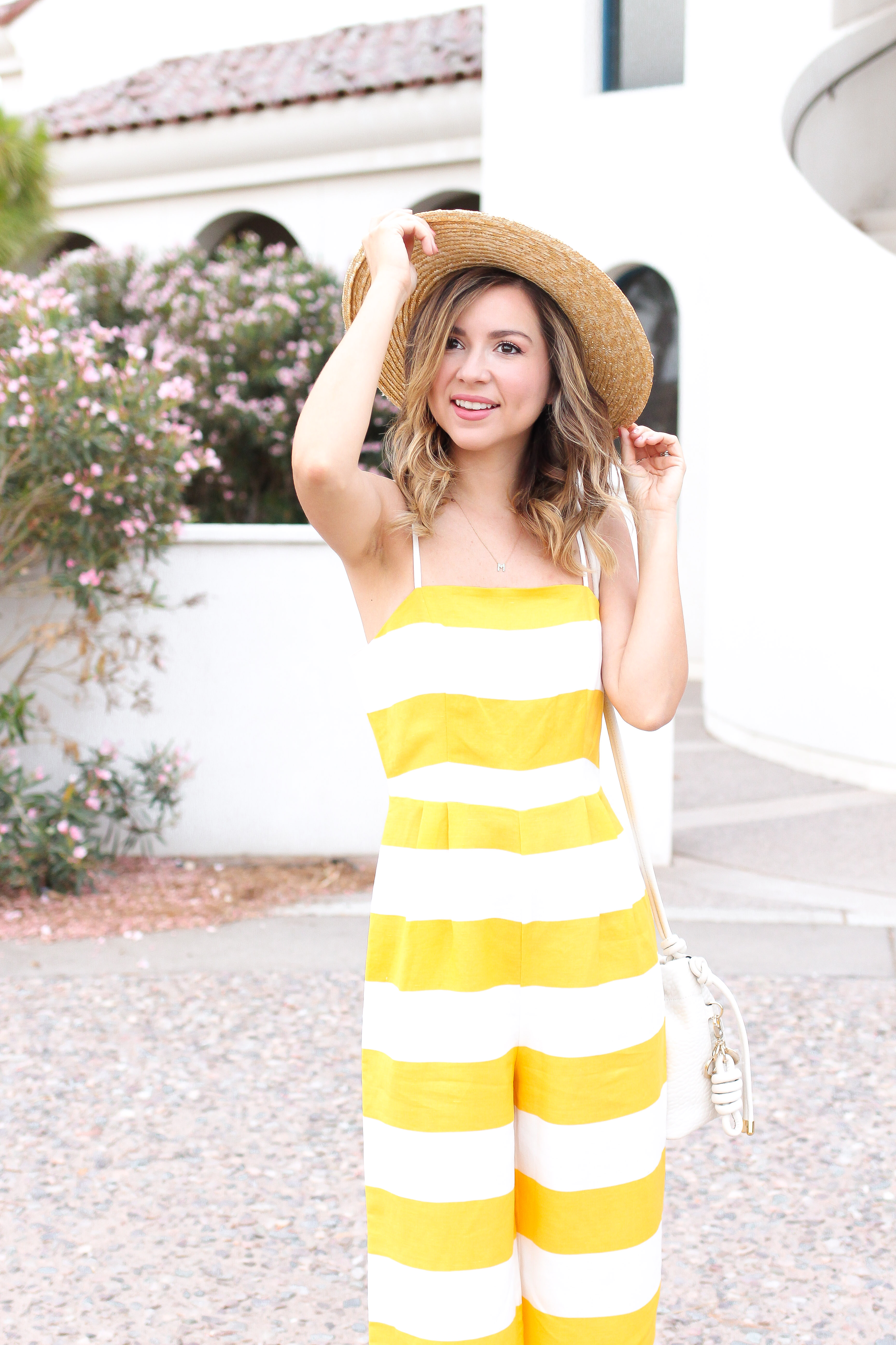 3731418a66f5 Simply Sutter – yellow jumpsuit -stripe jumpsuit – stripes – straw hat  4817