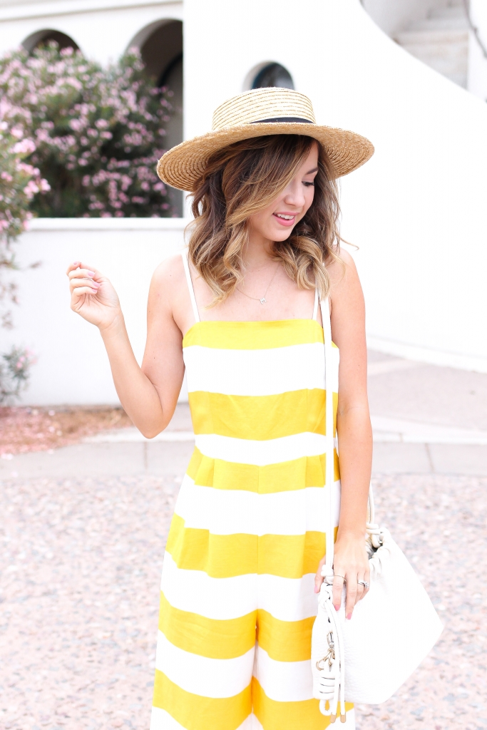 simply sutter - jumpsuit - striped jumpsuit - straw hat