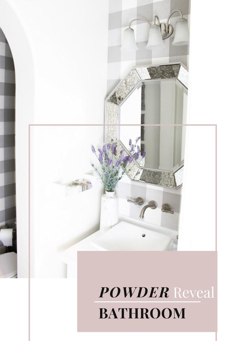 Simply Sutter - Powder bathroom - peel and stick wallpaper - plaid wallpaper