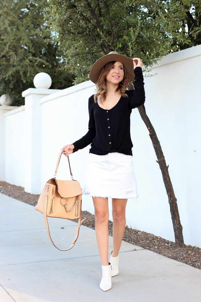 Simply Sutter - Fall outfit - white boots - casual fall outfit - wool hat - white skirt for fall