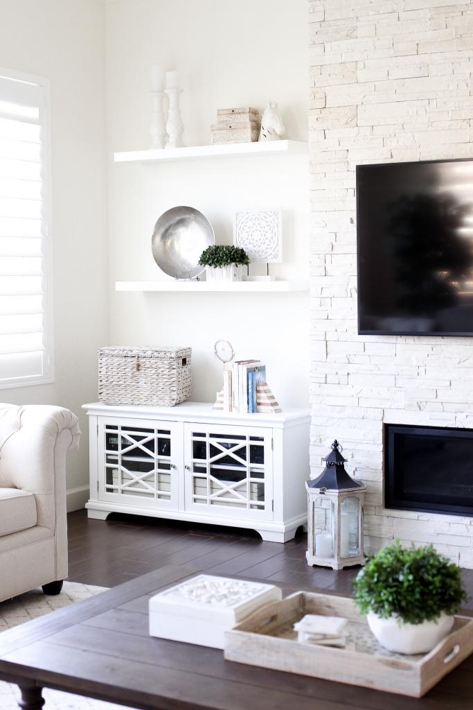 Simply Sutter - Hayneedle - Floating Shelf - Built Ins - Living room shelves