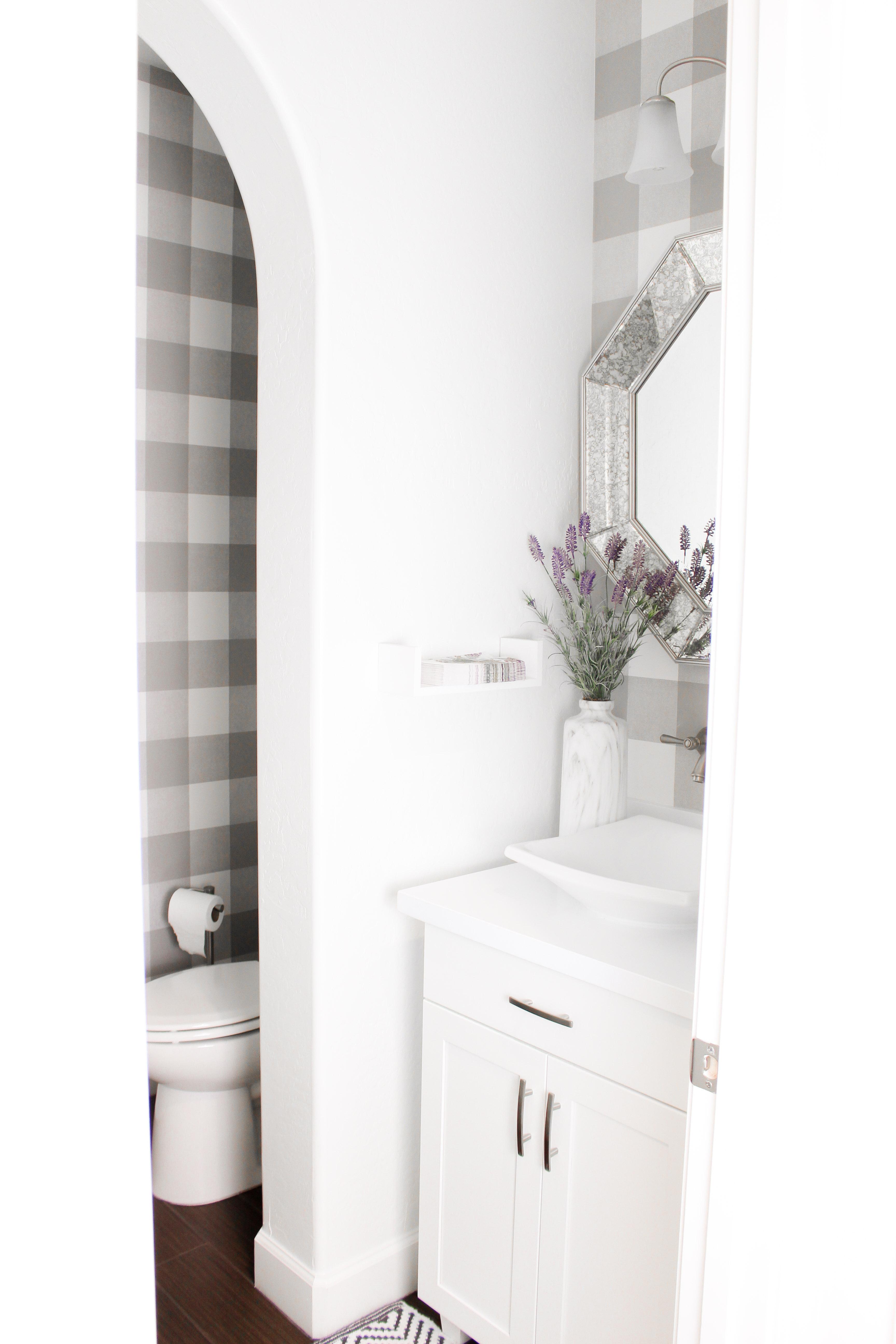Simply Sutter Powder Bathroom Peel And Stick Wallpaper Plaid