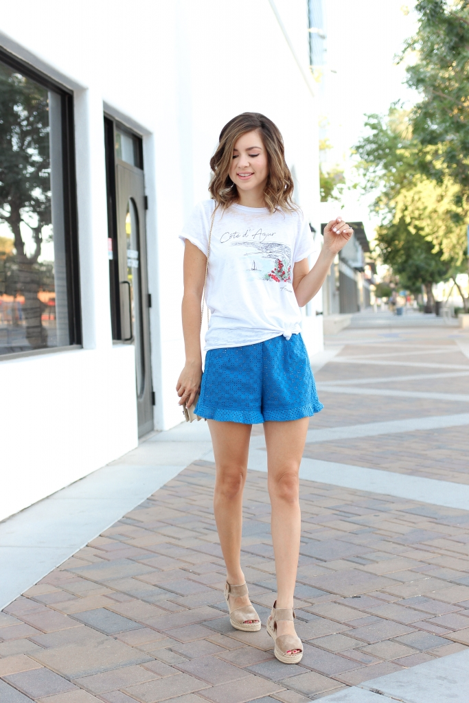 Simply Sutter - Ruffle Shorts - Espadrille outfit - casual shirt outfit