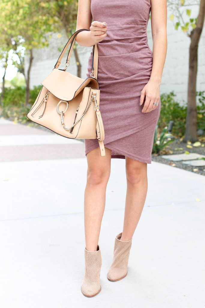 Simply Sutter - Best Fall Outfits - mauve dress - casual dress with boots