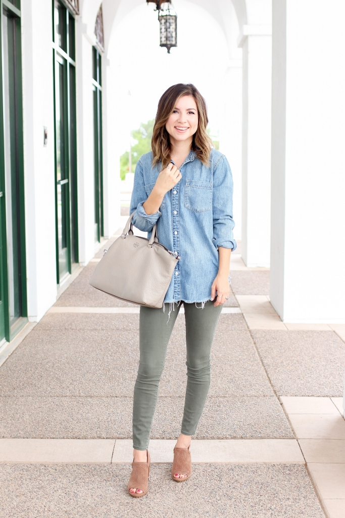 Simply Sutter - Denim Shirt - Distressed denim shirt - casual outfit - olive jeans