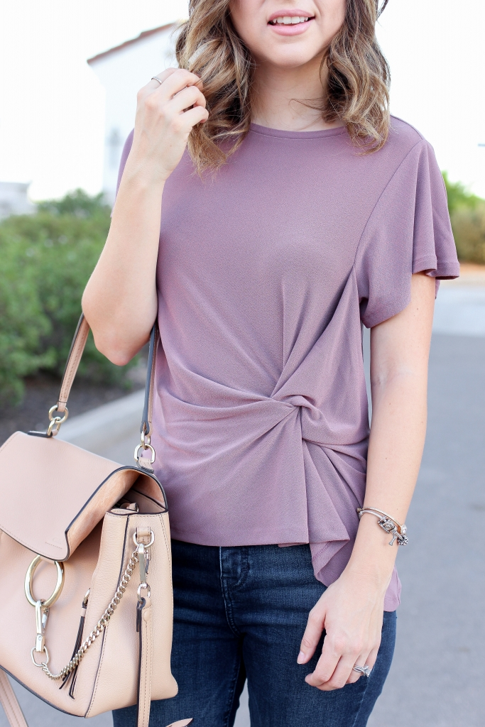 simply sutter - mauve - knot top - fall outfit