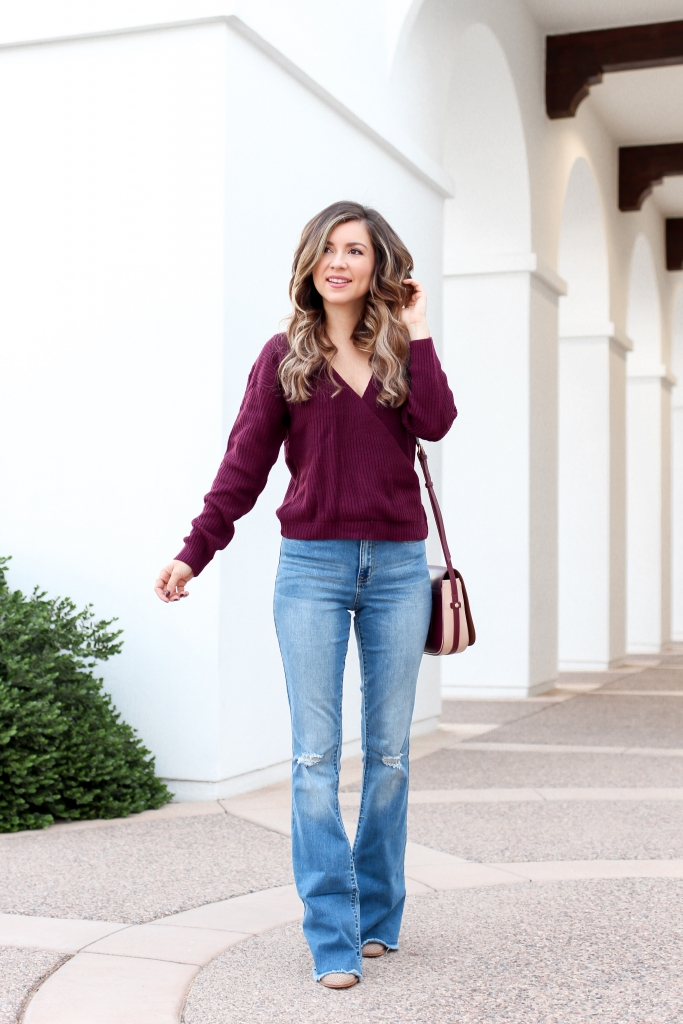 burgundy sweater outfit - flare jean outfit - casual fall look - best fall outfit - simply sutter - stage