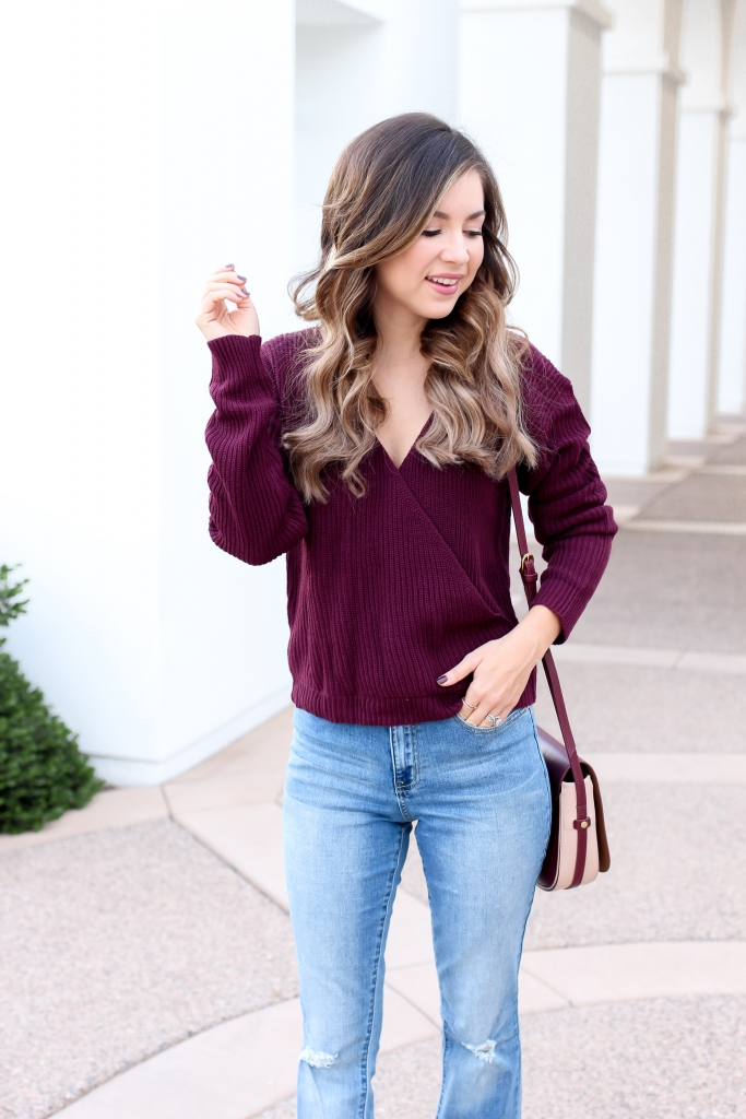 simply sutter - burgundy sweater - wrap sweater - flare jeans outfit - casual fall outfit