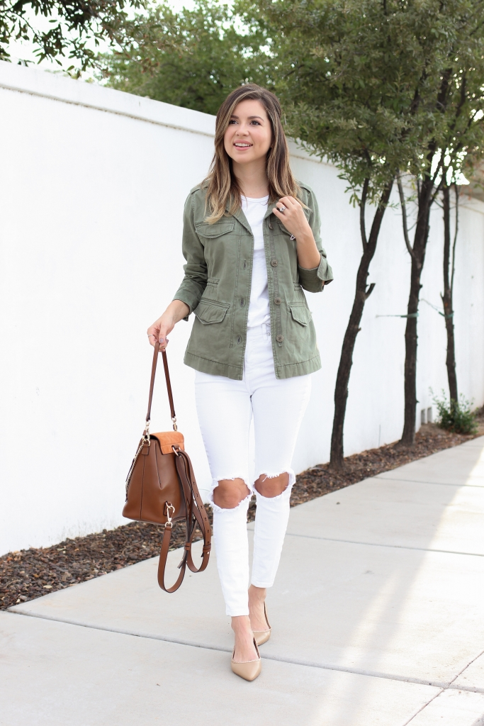 Simply Sutter - Olive jackets - utility jacket - how to wear utility jacket - best fall outfit - white jeans - utility jacket
